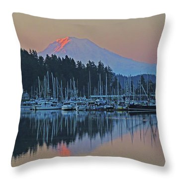 Dawn At Gig Harbor Throw Pillow by Jack Moskovita