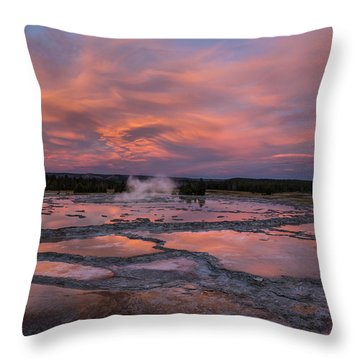 Throw Pillow featuring the photograph Dawn At Great Fountain Geyser by Roman Kurywczak