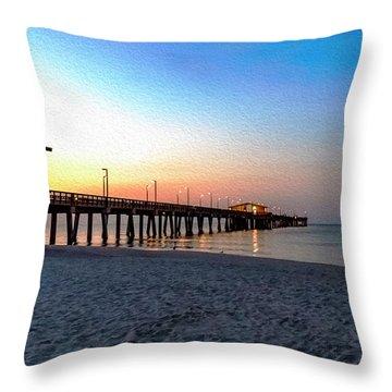 Dawn At Gulf Shores Pier Al Seascape 1283a Digital Painting Throw Pillow