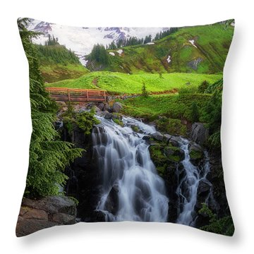 Dawn At Myrtle Falls Throw Pillow