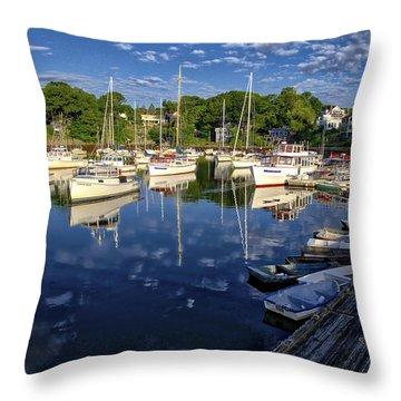 Dawn At Perkins Cove - Maine Throw Pillow