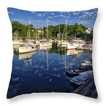 Dawn At Perkins Cove - Maine Throw Pillow