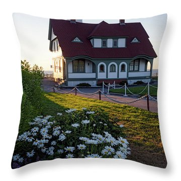 Throw Pillow featuring the photograph Dawn At Portland Head Light, Cape Elizabeth, Maine  -08614 by John Bald