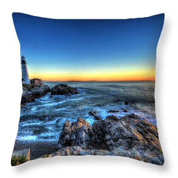 Dawn At Portland Head Lighthouse Throw Pillow