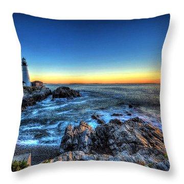 Dawn At Portland Head Lighthouse Throw Pillow
