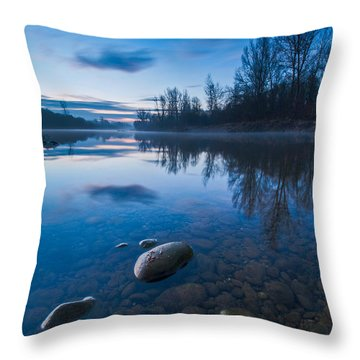 Dawn At River Throw Pillow