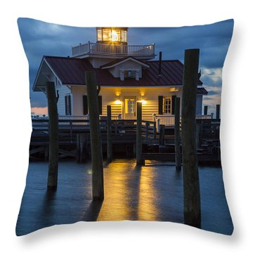 Dawn At Roanoke Marshes Lighthouse Throw Pillow