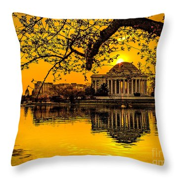 Throw Pillow featuring the photograph Dawn At The Jefferson Memorial  by Nick Zelinsky