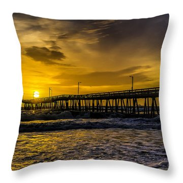 Dawn At The Virginia Pier Throw Pillow