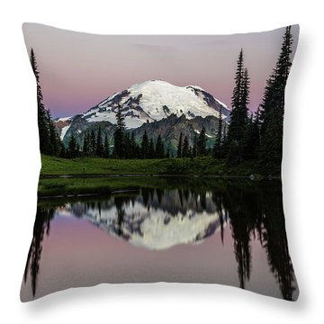 Throw Pillow featuring the photograph Mount Rainier Alpenglow At Tipsoo Lake by Pierre Leclerc Photography