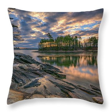 Dawn At Wolfe's Neck Woods Throw Pillow by Rick Berk