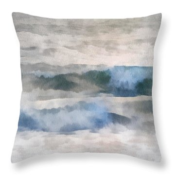 Throw Pillow featuring the digital art Dawn Beach by Francesa Miller