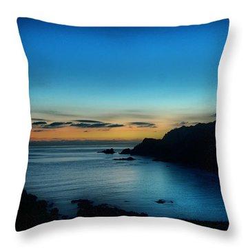 Dawn Blue In Mediterranean Island Of Minorca By Pedro Cardona Throw Pillow by Pedro Cardona