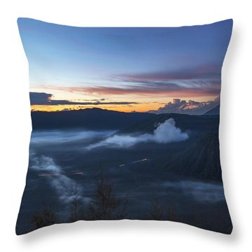 Throw Pillow featuring the photograph Dawn Breaking Scene Of Mt Bromo by Pradeep Raja Prints