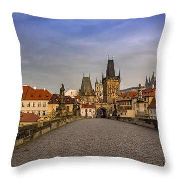 Dawn Breaks Over Prague From The St. Charles Bridge Throw Pillow