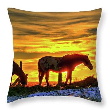Dawn Horses Throw Pillow