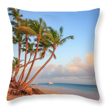 Throw Pillow featuring the photograph Dawn In Punta Cana by Adam Romanowicz