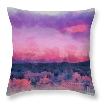 Dawn In Taos In Aquarelle Throw Pillow