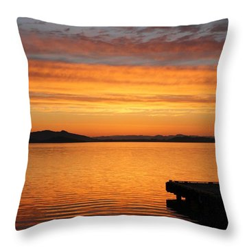 Throw Pillow featuring the photograph Dawn In The Sky At Dusavik by Charles Morrison