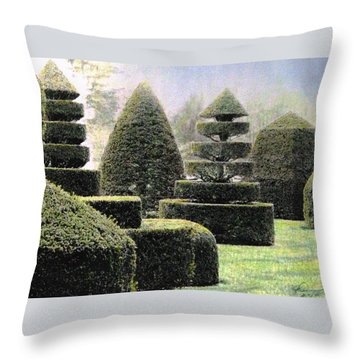 Dawn In A Topiary Garden   Throw Pillow by Angela Davies