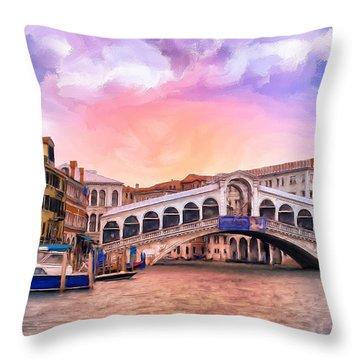 Dawn Light At Rialto Bridge Throw Pillow