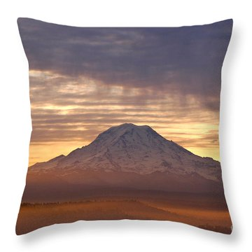 Dawn Mist About Mount Rainier Throw Pillow