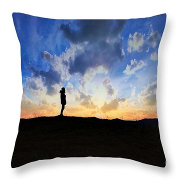 Dawn Of A New Day Sunrise 140a Throw Pillow by Ricardos Creations