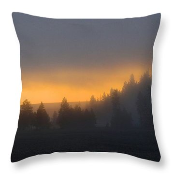 Dawn On A Misty Morning Throw Pillow