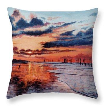 Dawn On Crystal Beach Throw Pillow