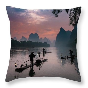 Waiting For Sunrise On Lee River. Throw Pillow