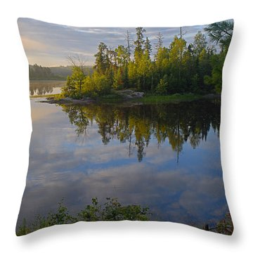 Dawn On The Basswood River Throw Pillow