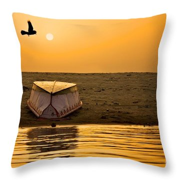 Dawn On The Ganga Throw Pillow by Valerie Rosen