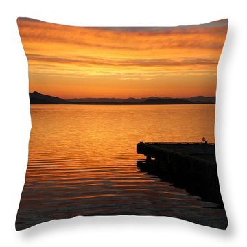 Dawn On The Water At Dusavik Throw Pillow
