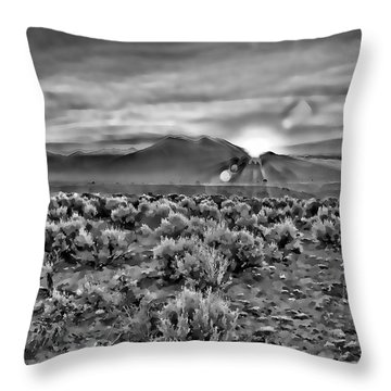 Dawn Over Magic Taos In B-w Throw Pillow