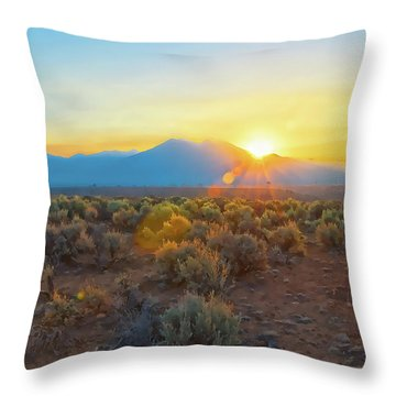 Dawn Over Magic Taos Mountain Throw Pillow