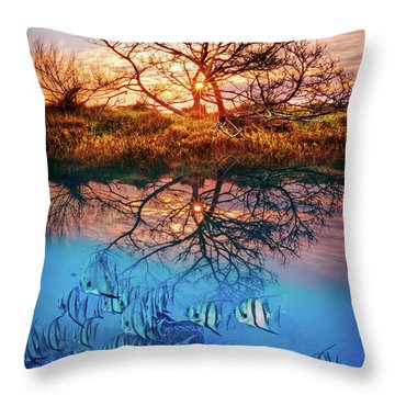 Throw Pillow featuring the photograph Dawn Over The Reef by Debra and Dave Vanderlaan