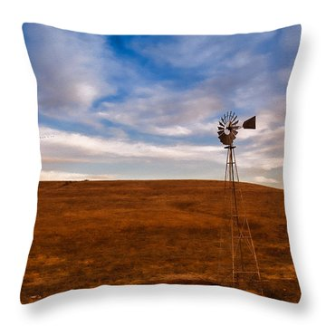 Dawn Prairie Windmill Throw Pillow