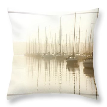 Dawn Reflections - Yachts At Anchor On The River Throw Pillow
