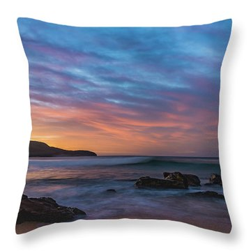 Dawn Seascape With Rocks And Clouds Throw Pillow