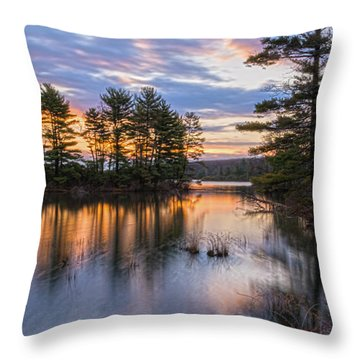 Dawn Serenity At Lake Tiorati Throw Pillow by Angelo Marcialis