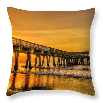 Throw Pillow featuring the photograph Dawn Under Tybee Island Pier Sunrise Reflections Art by Reid Callaway