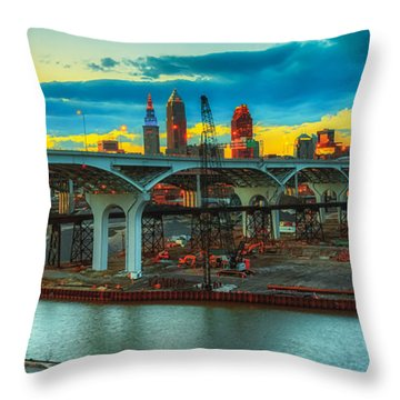 Dawn's Early Light In Cleveland Throw Pillow