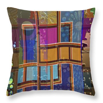Day And Night Collage Photography Abstract Art From Church Walls Moon Hightide N Graphic Window View Throw Pillow by Navin Joshi