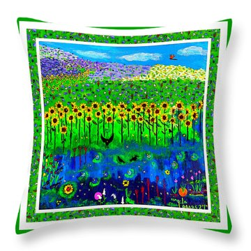 Day And Night In A Sunflower Field With Floral Border Throw Pillow