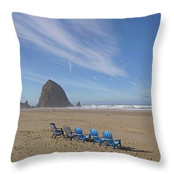 Day At Haystack Rock Throw Pillow