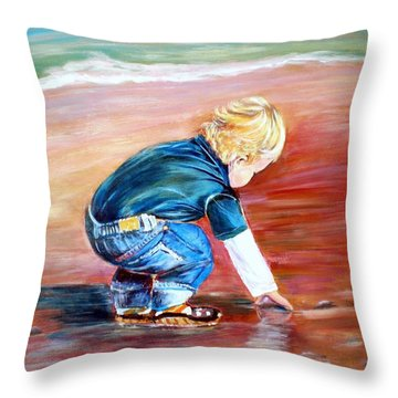 Day At The Beach Throw Pillow by Patricia Piffath