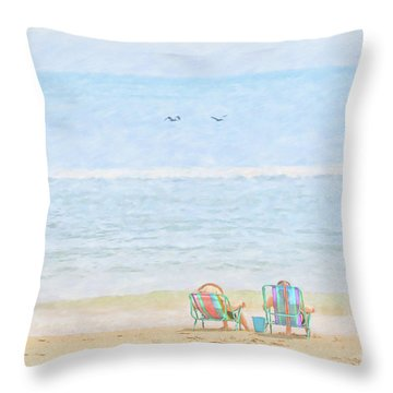 Throw Pillow featuring the digital art Day At The Beach Sun And Sand by Randy Steele