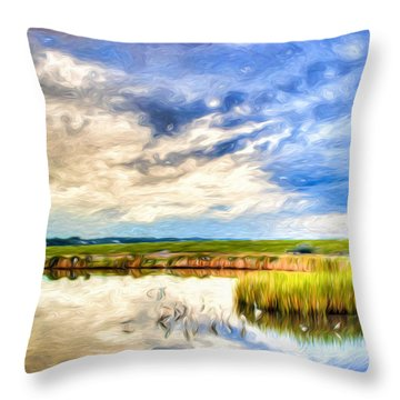 Day At The Marsh Throw Pillow