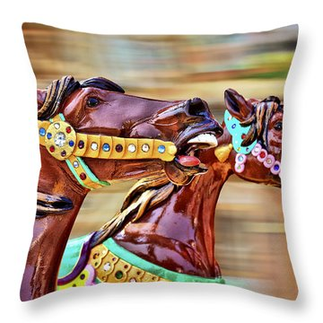Day At The Races Throw Pillow by Evelina Kremsdorf