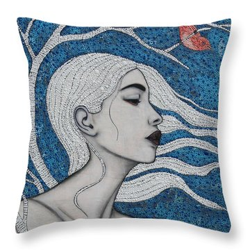 Throw Pillow featuring the mixed media Day Dreamer by Natalie Briney